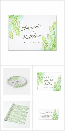 Spring greenery leaves watercolor art wedding
