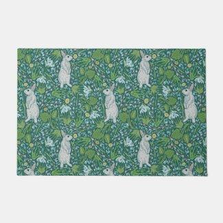 Spring Hares in the Meadow Floor Mat