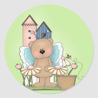 Spring Has Sprung, Adorable Butterfly Bear Classic Round Sticker