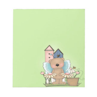 Spring Has Sprung, Adorable Butterfly Bear Note Pad