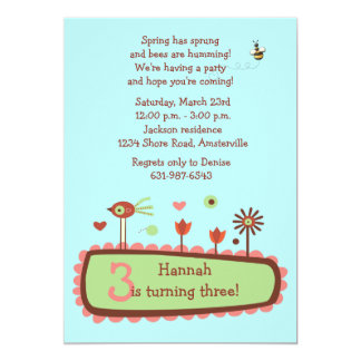 "Spring has Sprung Birthday Party Invitation 5"" X 7"" Invitation Card"