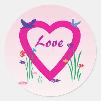 Spring Heart Love Round Stickers