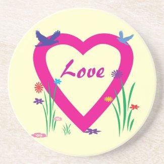 Spring Heart Valentine Beverage Coaster