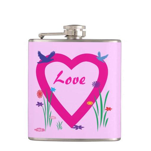 Spring Heart Valentine Hip Flask