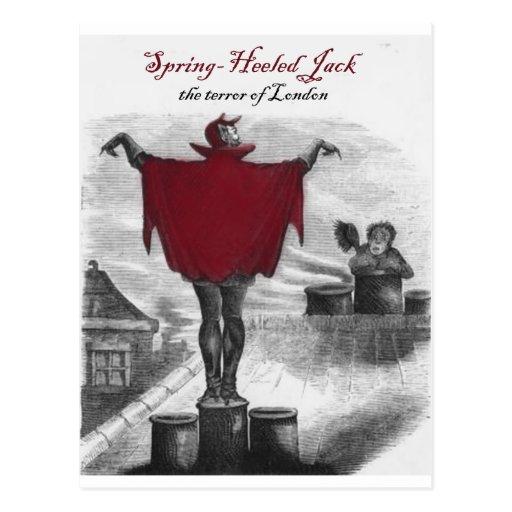 Spring Heeled Jack Devil London Vintage Art Postcard