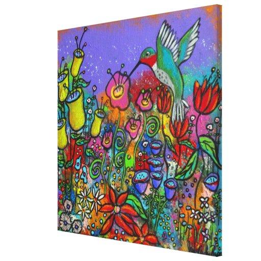 Spring Hummingbird & Flowers Canvas Print