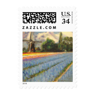 Spring Hyacinths Tulips Flowers Landscape Painting Postage Stamp