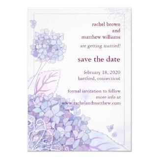 "Spring Hydrangea + Swirls Wedding Save the Date 4.5"" X 6.25"" Invitation Card"