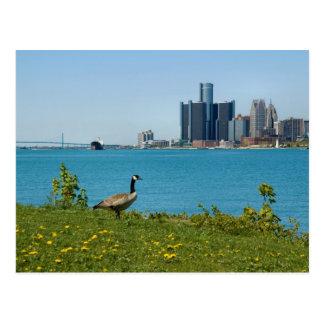 spring in detroit postcard
