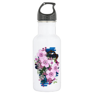 Spring in Japan - Cute and Girly Pink Kimono Style Stainless Steel Water Bottle