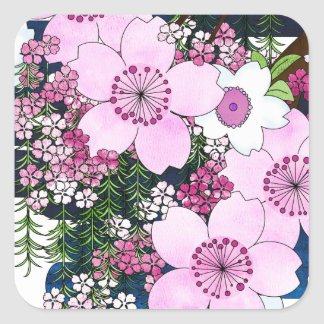 Spring in Japan - Cute Girly Kimono Style Square Sticker