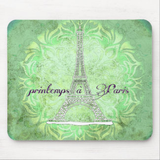Spring in Paris green mouse pad
