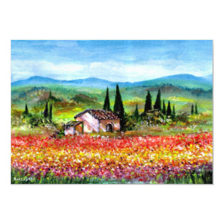 SPRING  IN TUSCANY, bright red pink yellow blue Card