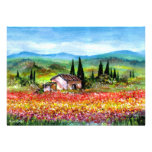 SPRING  IN TUSCANY, bright red pink yellow blue Personalized Announcement