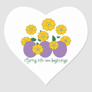 Spring Into New Beginnings Heart Stickers