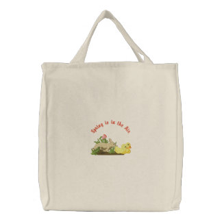 Spring is in the Air Embroidered Tote Bag