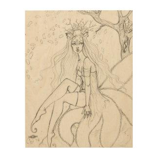 """Spring Kitsune"" Fox Faery Wood Print"