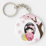 Spring Kokeshi Doll - Cute Japanese Geisha Girl Basic Round Button Keychain
