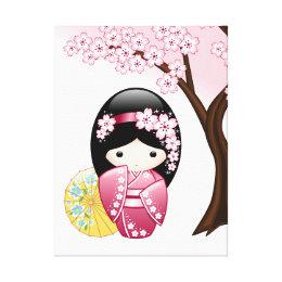 Spring Kokeshi Doll - Cute Japanese Geisha Girl Canvas Print