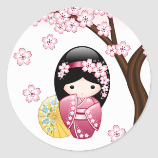 Spring Kokeshi Doll - Cute Japanese Geisha Girl Classic Round Sticker