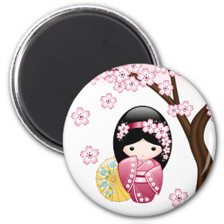 Spring Kokeshi Doll - Cute Japanese Geisha Girl Magnet
