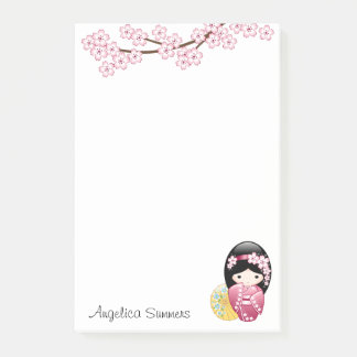 Spring Kokeshi Doll - Cute Japanese Geisha Girl Post-it Notes