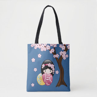 Spring Kokeshi Doll - Cute Japanese Geisha Girl Tote Bag