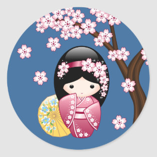 Spring Kokeshi Doll - Cute Japanese Geisha on Blue Classic Round Sticker
