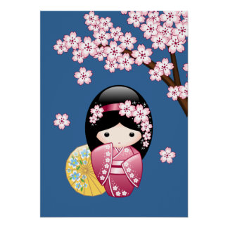 Spring Kokeshi Doll - Cute Japanese Geisha on Blue Poster