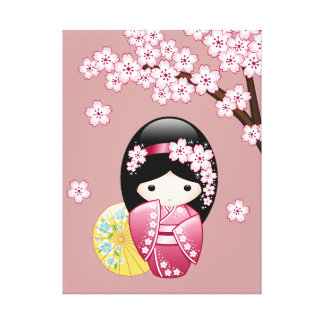 Spring Kokeshi Doll - Cute Japanese Geisha on Pink Canvas Print