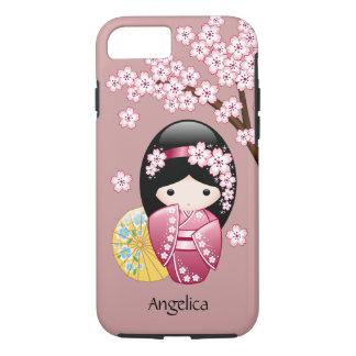 Spring Kokeshi Doll - Cute Japanese Geisha on Pink iPhone 7 Case