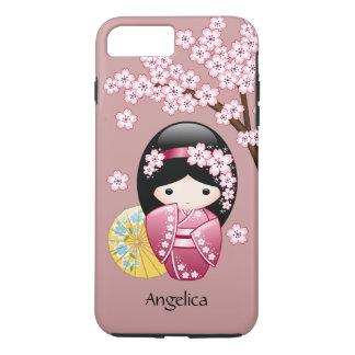 Spring Kokeshi Doll - Cute Japanese Geisha on Pink iPhone 7 Plus Case
