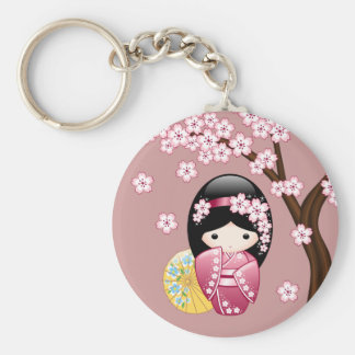 Spring Kokeshi Doll - Cute Japanese Geisha on Pink Keychain