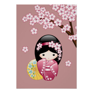 Spring Kokeshi Doll - Cute Japanese Geisha on Pink Poster