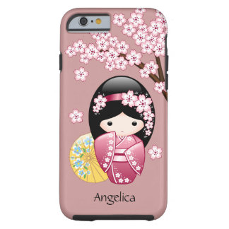 Spring Kokeshi Doll - Cute Japanese Geisha on Pink Tough iPhone 6 Case