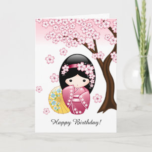 Japanese Spring Kokeshi Doll Cards