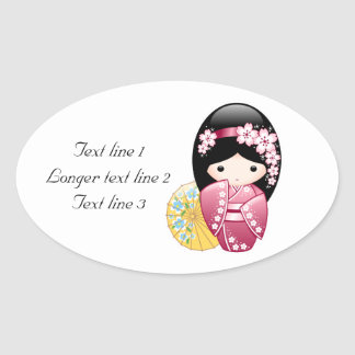 Spring Kokeshi Doll Personalized Oval Stickers