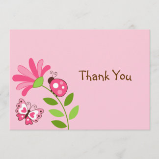Spring Ladybug Butterfly Flat Thank You Note Cards