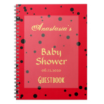 Spring Ladybug Patterns Baby Shower Guestbook Notebook