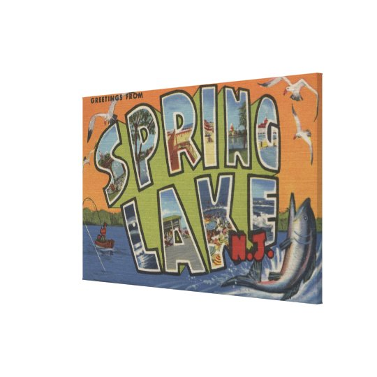Spring Lake, New Jersey - Large Letter Scenes Canvas Print