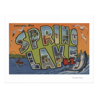 Spring Lake New Jersey - Large Letter Scenes Post Card