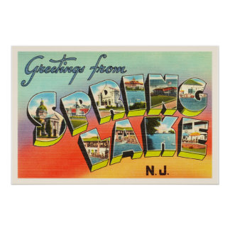 Spring Lake New Jersey NJ Vintage Travel Postcard- Poster