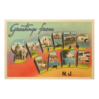 Spring Lake New Jersey NJ Vintage Travel Postcard- Wood Print