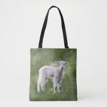 Spring Lamb on a Mottled Green Background Tote Bag