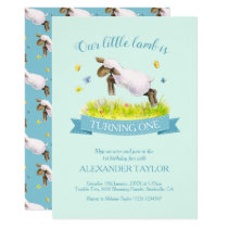 Spring lamb skipping cute 1st birthday invitations