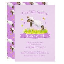Spring lamb skipping cute purple 1st birthday invitation
