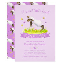 Spring lamb skipping cute purple baby shower invitation