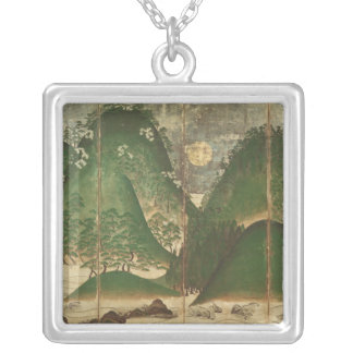Spring Landscape with Sun Silver Plated Necklace