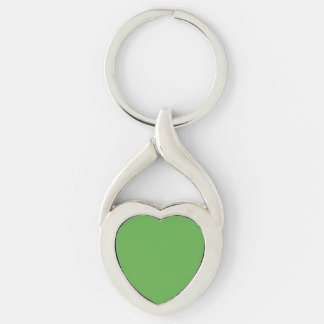 Spring Leaf Green in an English Country Wedding Silver-Colored Heart-Shaped Metal Keychain