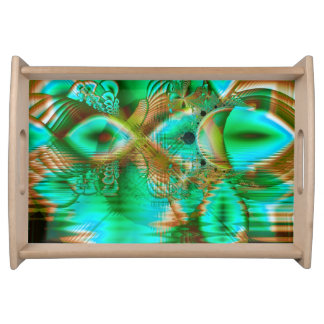 Spring Leaves, Abstract Crystal Flower Garden Serving Tray